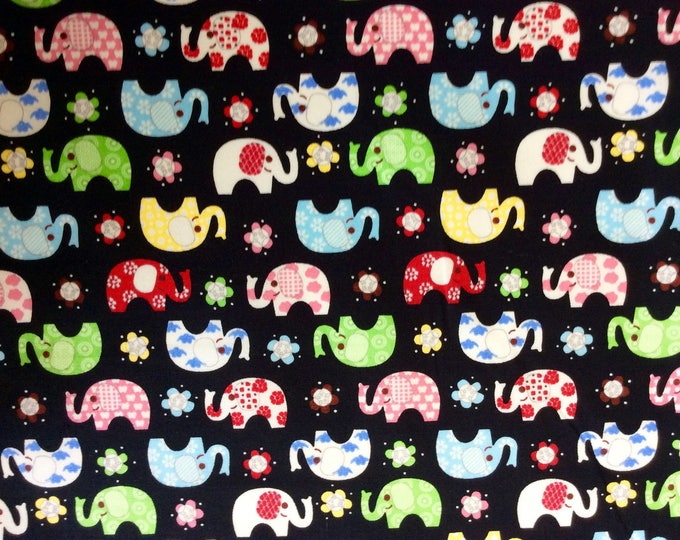 High quality cotton poplin, elephants on black