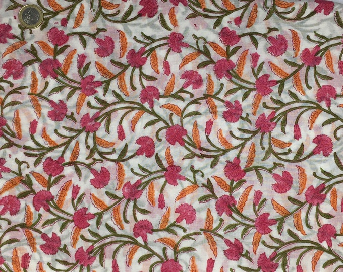 Indian block printed cotton voile, hand made. Off white Jaipur