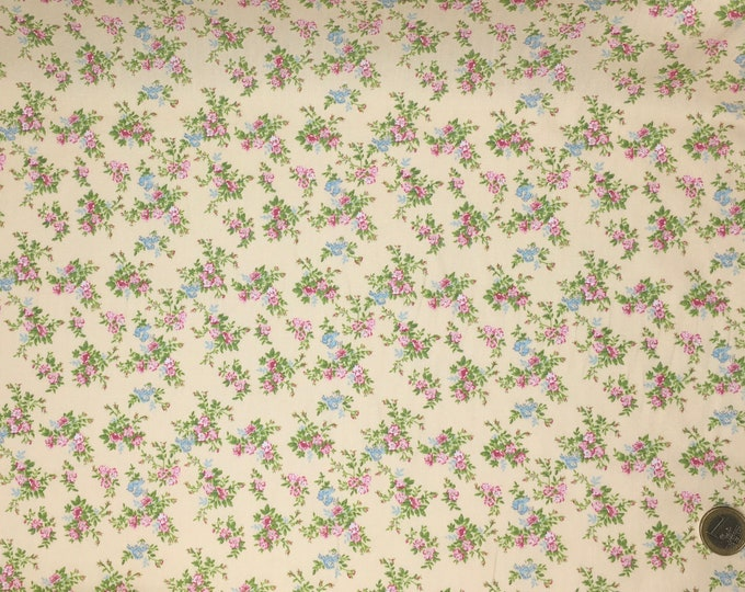 High quality cotton poplin dyed in Japan with vintage roses and birds