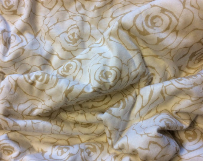Rose print cotton jersey, beige on white