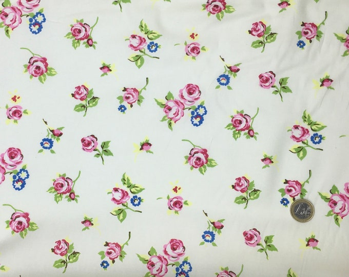 High quality cotton poplin, English roses on ivory