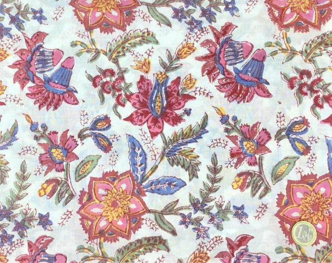 Indian block printed cotton voile, hand made. Soft Jaipur