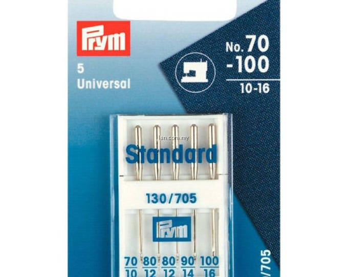 5 standard sewing needles, size 70/10 to 100/16