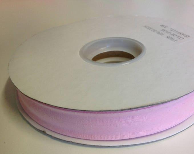 Roll of 25m of polycotton bias ribbon 18mm, pink