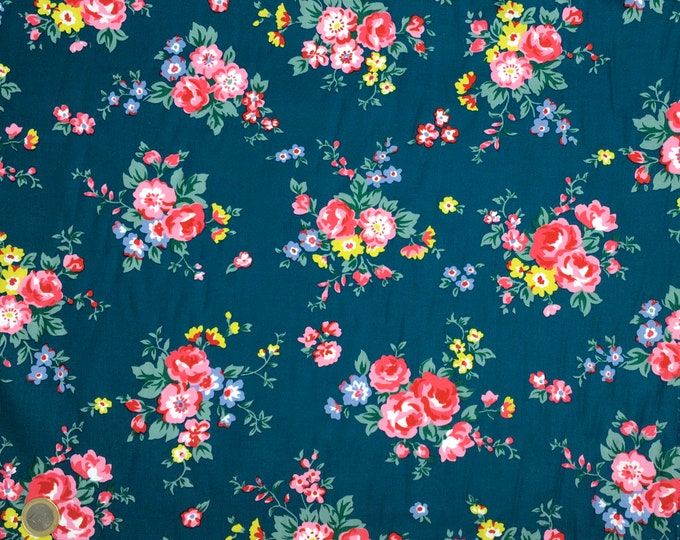 High quality cotton poplin with roses on teal
