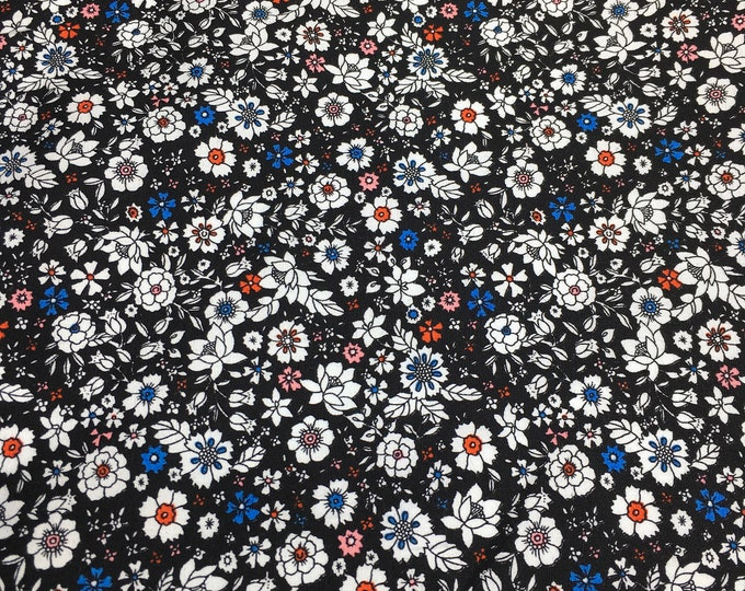 High quality cotton poplin with floral on black, Heidi