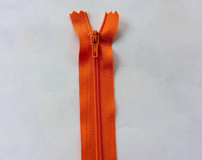 "Nylon coil zipper, 20cm (8""), orange"