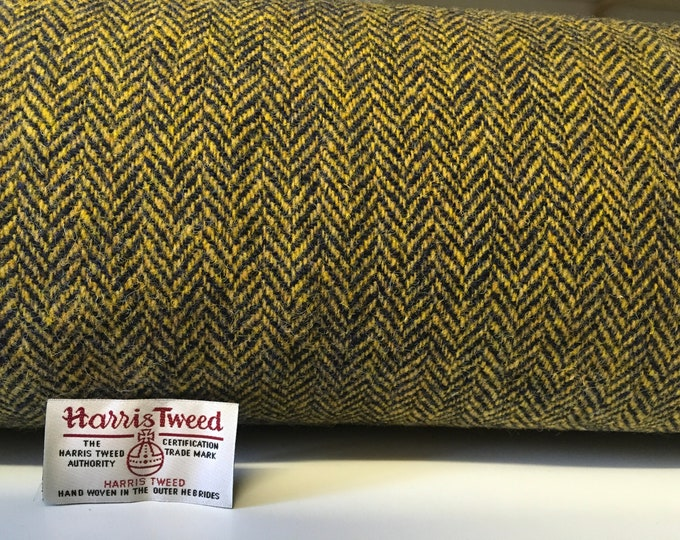Genuine Harris tweed fabric with label, herringbone weave