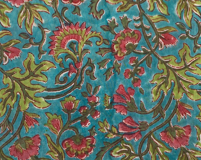 Indian block printed cotton voile, hand made. Light turquoise Jaipur