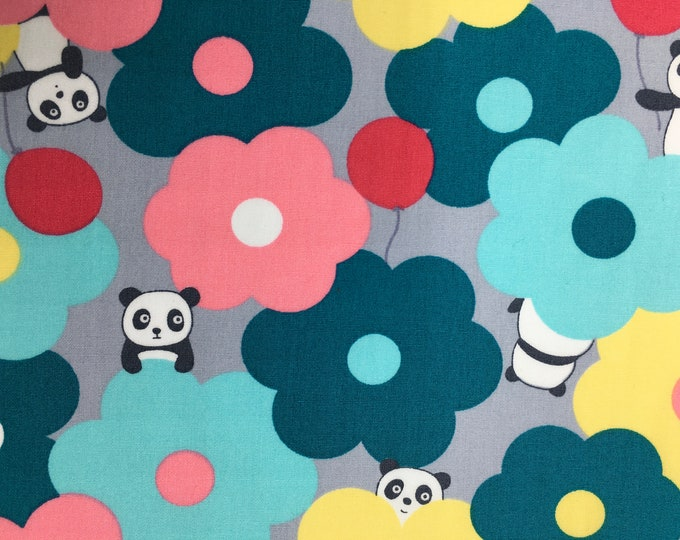 Cotton poplin with floral and panda kawaii print on grey