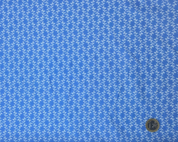 High quality cotton poplin, Provence blue leaf print no10