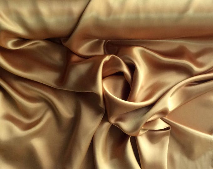 High quality silky satin, very close to genuine silk sateen. Gold copper No18