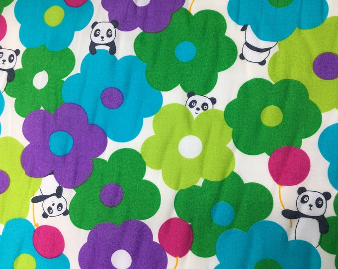 Cotton poplin with floral and panda kawaii print on off white
