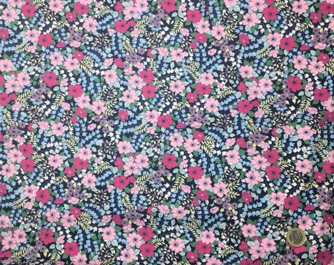 High quality cotton poplin dyed in Japan with floral on navy