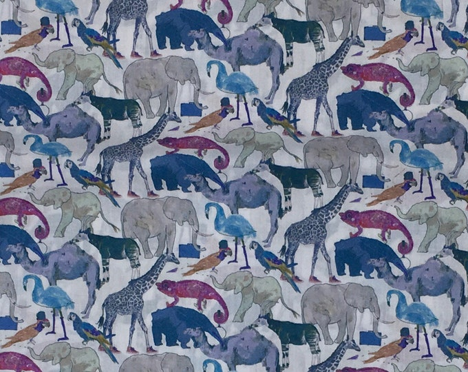 Tana lawn fabric from Liberty of London, Queue for the zoo