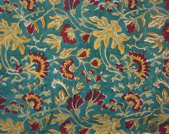 Indian block printed cotton voile, hand made. Aqua green Jaipur