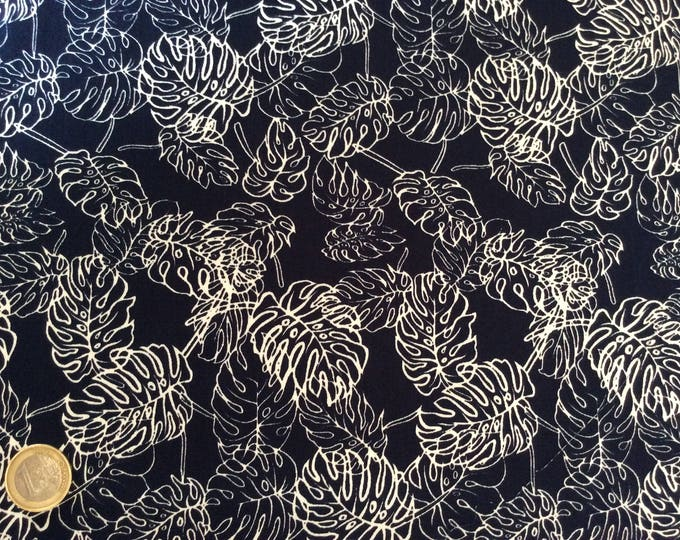 High quality cotton poplin, blue jungle leaves