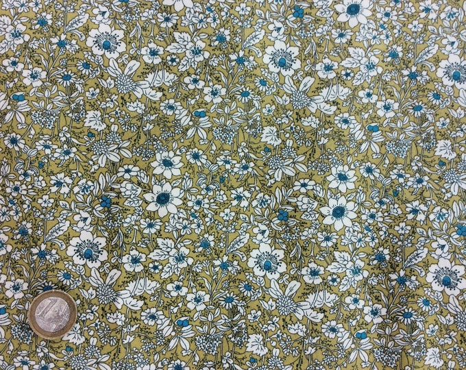 High quality cotton poplin printed in Japan, floral on mustard green