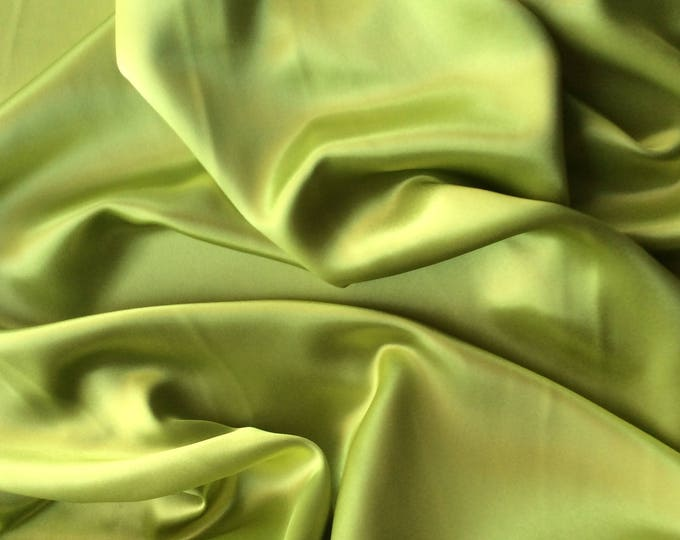 High quality silky satin, very close to genuine silk satin. Apple green No30