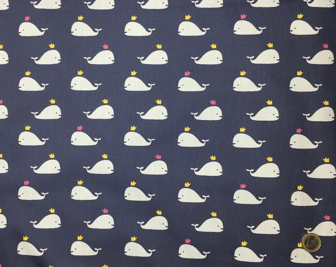 High quality cotton poplin dyed in Japan with whales on grey