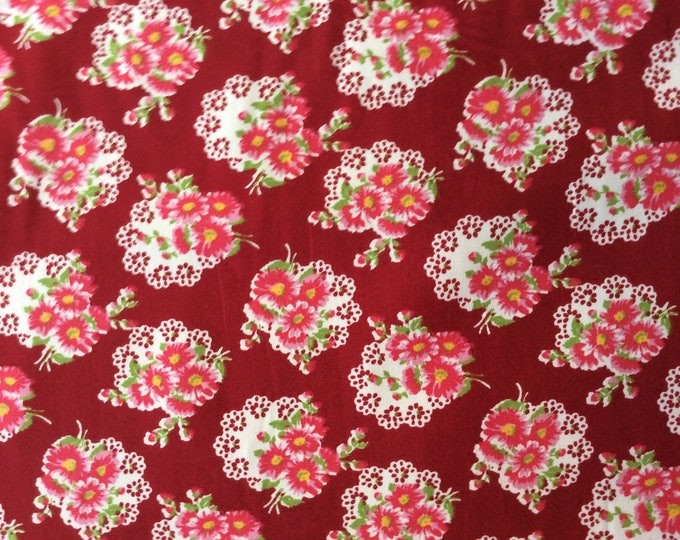 High quality cotton poplin, marron vintage floral print