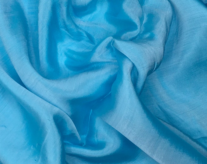 Habotae silk fabric, two tone sky blue and white
