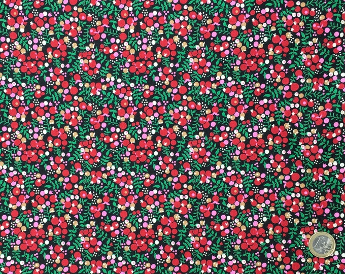 English Pima lawn cotton fabric, priced per 25cm. Berries on black