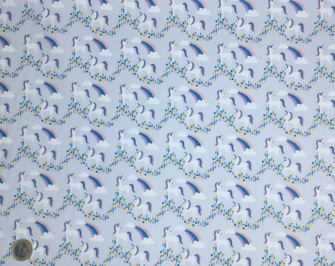 High quality cotton poplin, unicorns on grey