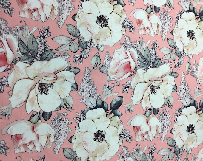 High quality cotton poplin, digital floral print on pink