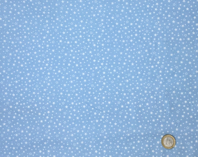 High quality cotton poplin dyed in Japan with stars, baby blue