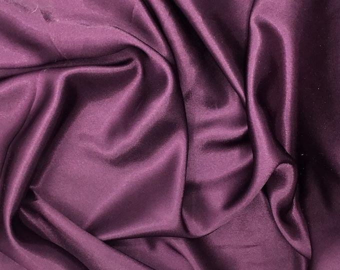 High quality silky satin back crepe, eggplant nr95, close to genuine silk crepe, soft blue nr30