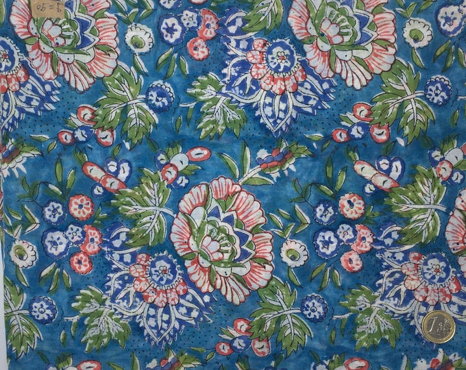 Indian block printed cotton voile, hand made. Turquoise Jaipur