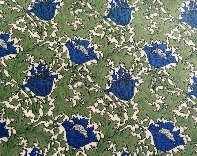 English Pima lawn cotton fabric, priced per 25cm. Dark thistle, Jugend style florals
