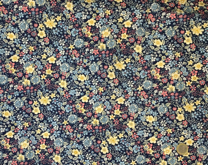 Cotton poplin with floral or flowers on navy