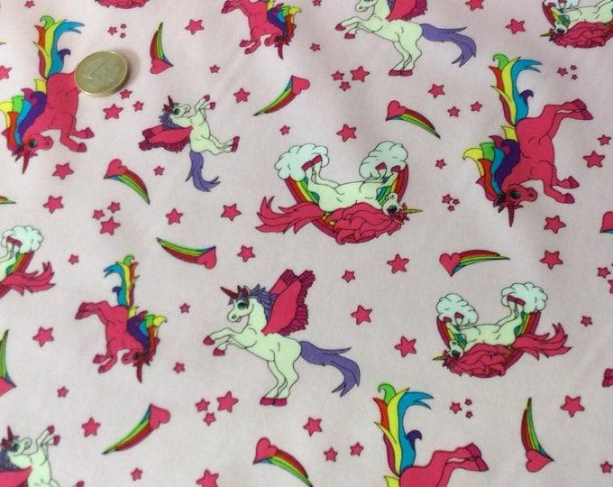 High quality cotton poplin, unicorns on pink