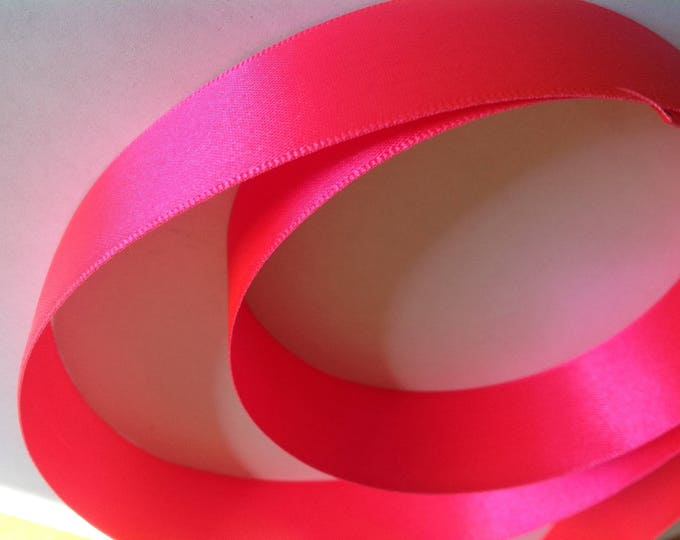 Double sided sateen ribbon, neon pink