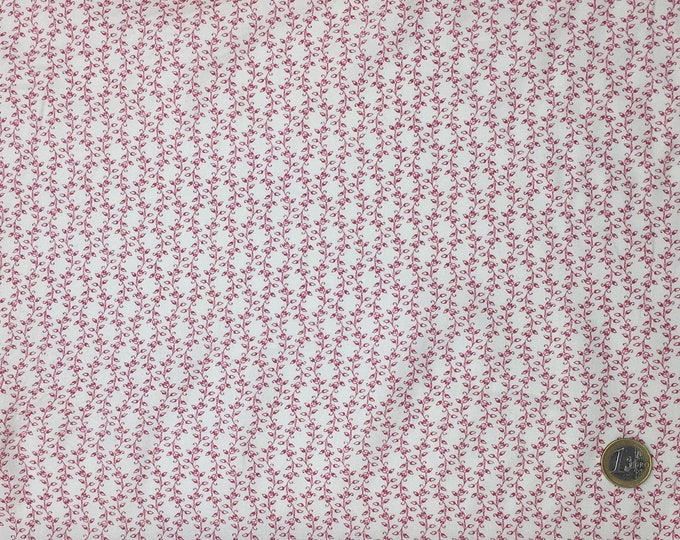 High quality cotton poplin, red leaf print on off white