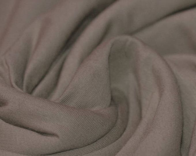 Dark beige cotton/viscose jersey fabric