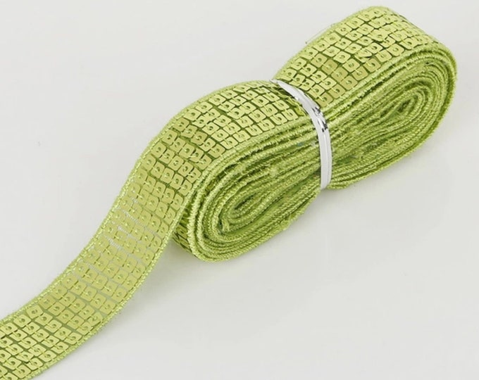 Apple green Square sequin or sequined ribbon, 25mm or 1» wide, sold per meter