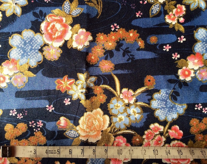Japanese printed cotton poplin sold per 25cm, Asian gold print