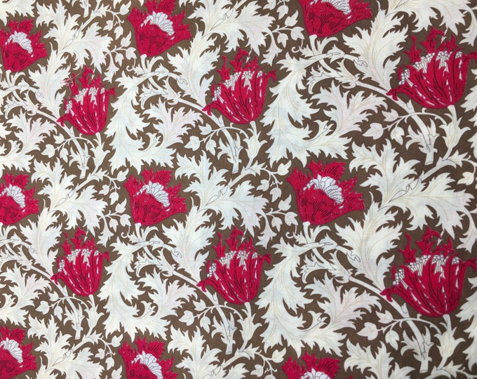 English Pima lawn cotton fabric, floral, raspberry thistle