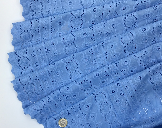 Light blue embroidery anglaise, eyelet or broderie anglais cotton fabric, scalloped edges