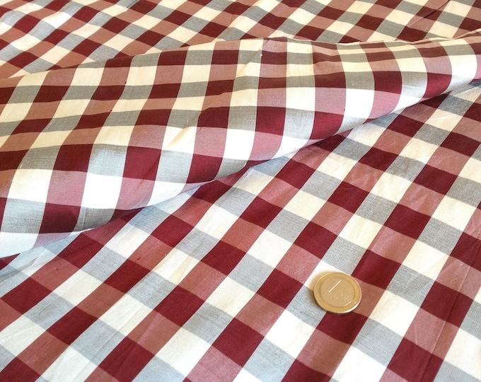 Pure silk fabric, bordeaux and white checks