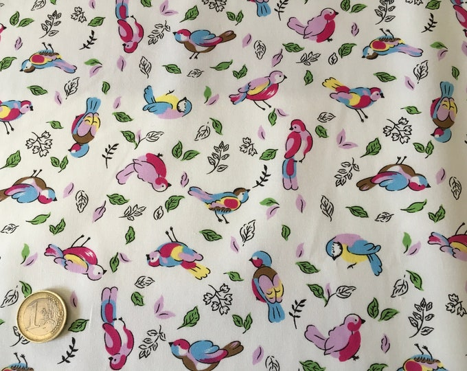 High quality cotton poplin dyed in Japan with birds