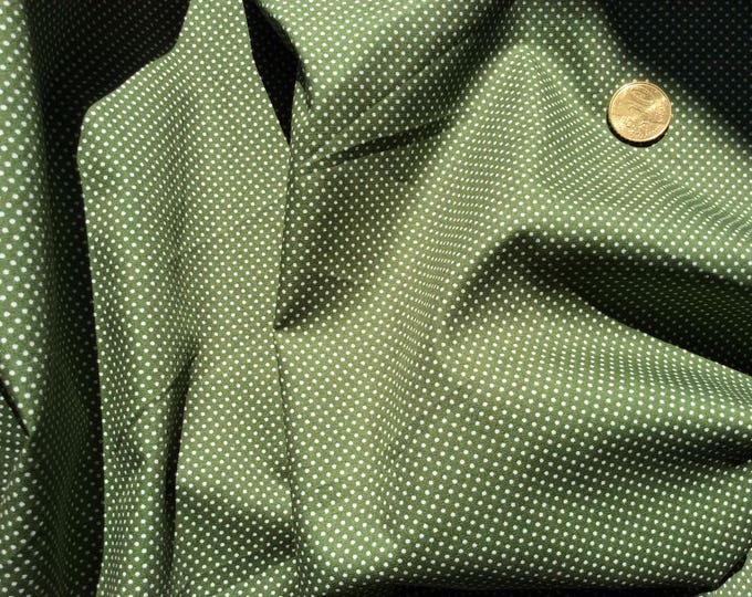 High quality cotton poplin printed in Japan, moss green polka dots