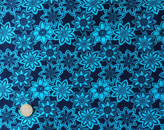 High quality cotton poplin, vintage navy/turquoise floral print