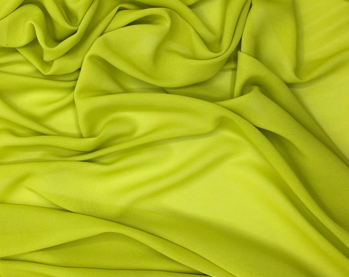 High quality Faux Silk Chiffon. Apple green no9