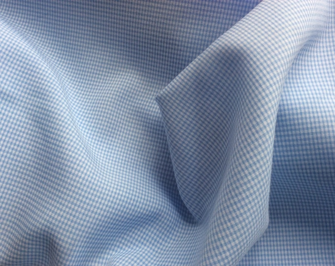 Cotton poplin, baby blue check weave