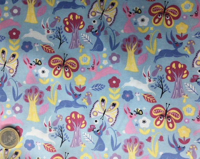 High quality cotton poplin dyed in Japan with rabbits and butterflies
