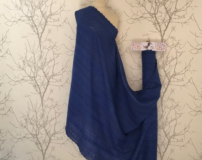 Royal blue embroidery anglaise, eyelet or broderie anglais cotton fabric, scalloped edges